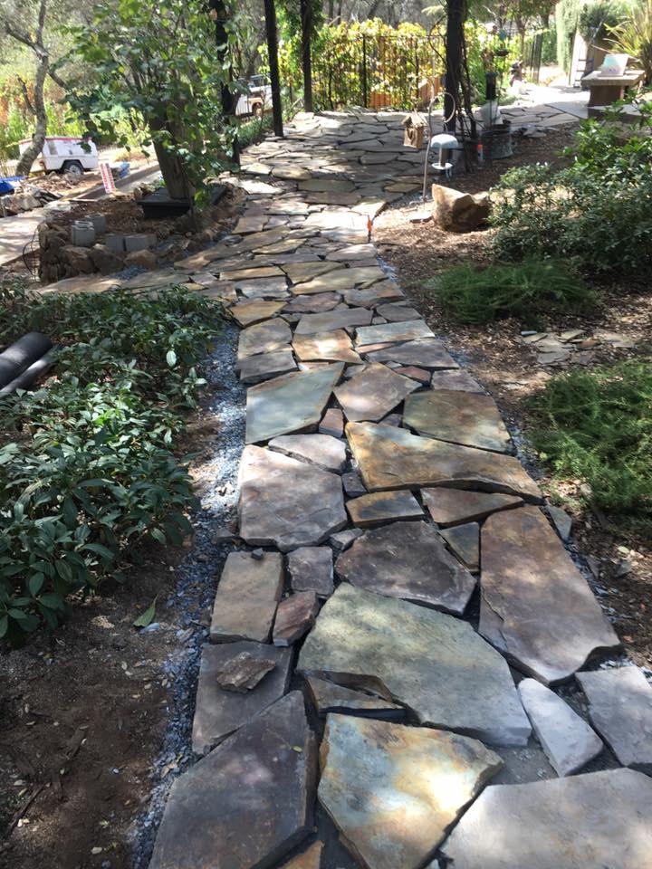 building-a-flagstone-patio-almost-done-hardscape-in-Sacramento-CA-by-Romeros-Landscape-Inc