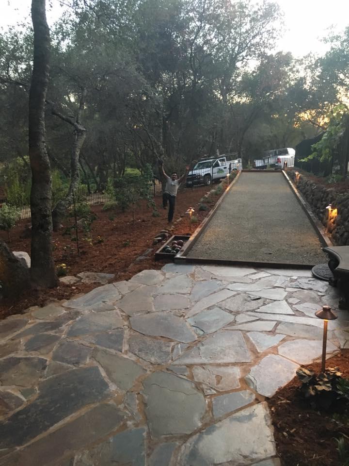building-a-flagstone-patio-with-sidewalk-hardscape-in-Sacramento-CA-by-Romeros-Landscape-Inc
