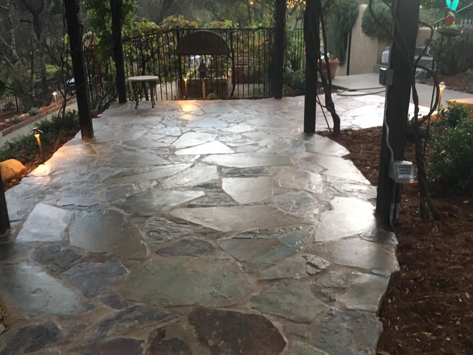 flagstone-patio-with-lighting-hardscape-in-Sacramento-CA-by-Romeros-Landscape-Inc