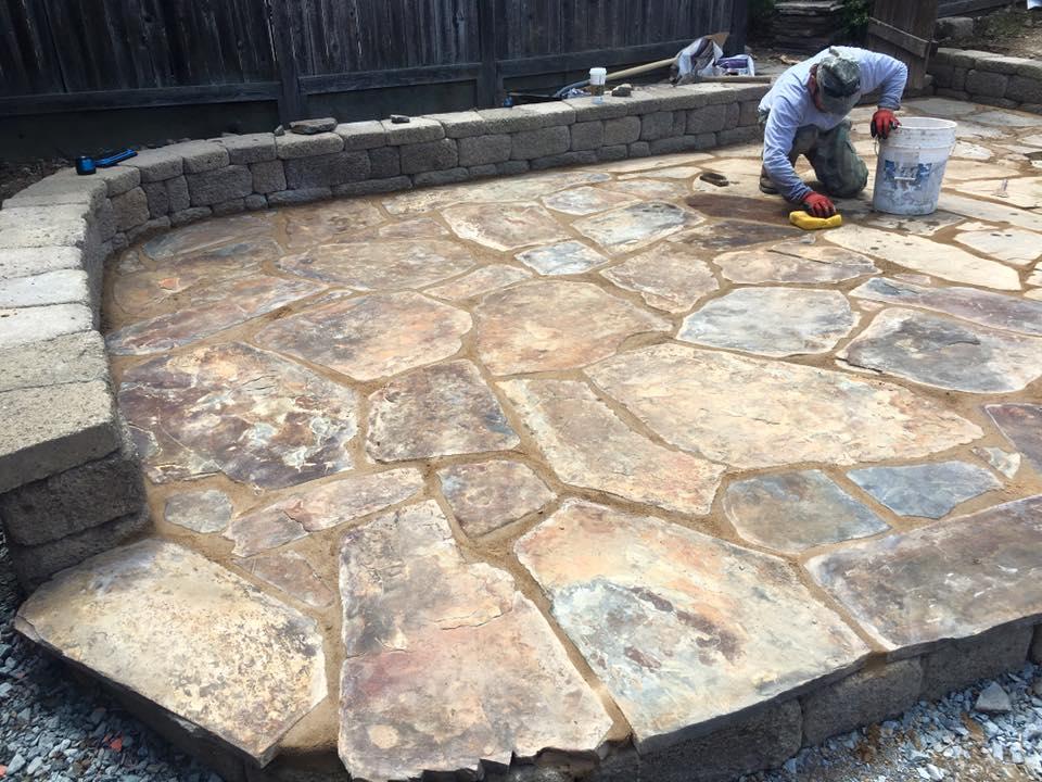 installing-a-flagstone-patio-in-Sacramento-CA-by-Romeros-Landscape-Inc